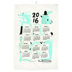 Calendar tea towel 2016, mint, by Kauniste.
