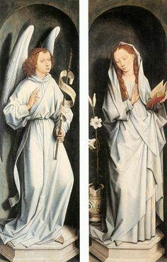 HANS MEMLING Completion Date: 1467 Style: Northern Renaissance Genre: religious painting Technique: oil Material: panel Dimensions: 83 x 26.5 cm Gallery: Groeninge Museum, Bruges, Belgium