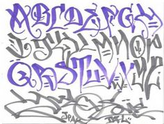 Cool Graffiti Alphabet Letters A-Z Style Blue Black / All About Free Graffiti Art Work from World Artists.
