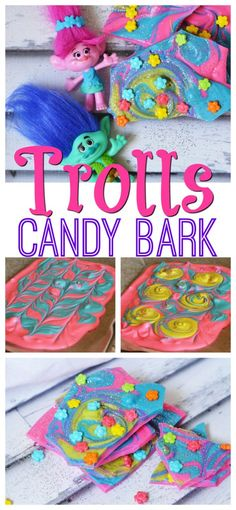 This Trolls candy bark recipe is just as bright, sparkly, and whimsical as the movie. #DreamWorksTrolls http://www.southernfamilyfun.com/trolls-movie-candy-bark-recipe/ Bark Recipe, Recipe Tasty, Cookies Et Biscuits, Trolls Birthday Party Ideas Cake, Kids Birthday Snacks, Troll Party, 4th Birthday Parties, Birthday Ideas, Movie Candy