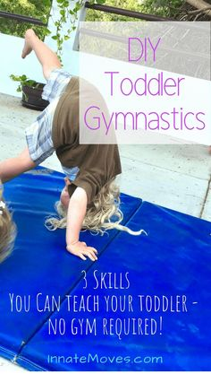 It's super easy and fun to start these activities for toddlers at home! They can learn just as much gymnastics from you at home, and the toddler gymnastics skills below are the same as kids learn in a typical preschool gymnastics class. Learn Gymnastics At Home, Easy Gymnastics Moves, Toddler Gymnastics, Gymnastics Lessons, Preschool Gymnastics, Toddler Sports, Toddler Dance, Gymnastics Workout, Toddler Fun