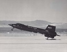 This photograph shows the second North American Aviation X-15A, 56-6671, flaring to land on Rogers Dry Lake, Edwards Air Force Base, California The rear skids are just touching down. The white patches on the aircraft's belly is frost from residual cryogenic propellants remaining in its tanks. (U.S. Air Force)