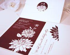 New Sample Three Dahlia Blooms Pocketfold Wedding Invitation Wine Cream Flowers Garden Outdoor Bouquet Bellyband Sticker Rsvp