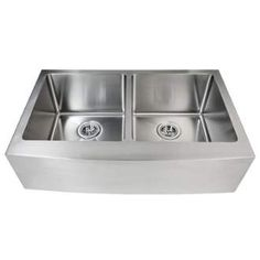 """View the Miseno MSS163320F5050 32-7/8"""" Apron Front Farmhouse Double Basin Stainless Steel Kitchen Sink with 50/50 Split - Drain Assemblies, Basin Racks and Maintenance Kit Included at FaucetDirect.com."""