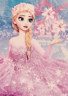 Elsa with some flowers