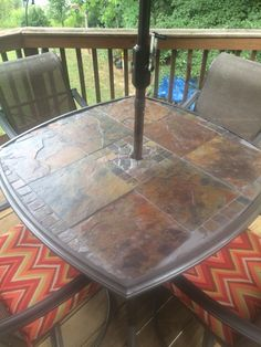 Slate Patio Table Original Gl Top Was Shattered So I Replaced With Tiles To