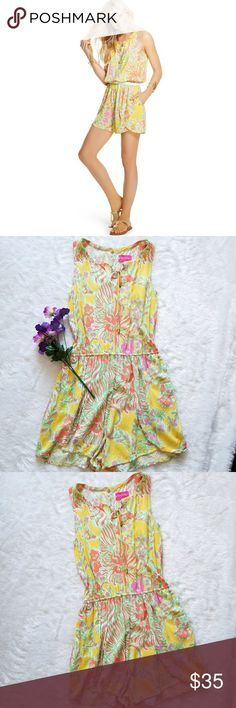 "Lilly Pulitzer Challis Romper! Yellow and multicolor floral print romper by Lilly Pulitzer for Target. Size Medium. Pre-owned and in great condition. Normal wear. Some wrinkles. 32"" shoulder to hem,  16"" pit to pit and approximately 32"" waist. Comes from a smoke-free pet-free home. Fast shipping! NO TRADES! Lilly Pulitzer for Target Pants Jumpsuits & Rompers"