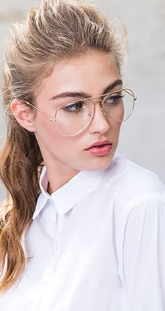 495ffde3e10  Looking Back To Retro  Gold-tone Aviator Glasses with Transparent Lenses