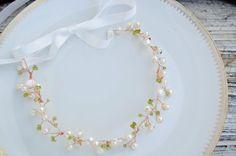 Hair Vine, hair accessories, bride, fall wedding, green and white, 14k rose gold