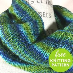 Knit an easy and relaxing wide ribbed cowl. Using one skein of hand dyed self-striping Crazy Zauberball yarn, you