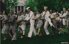 """Conga line dance - the afro-cuban """"Conga"""" is really a """"mixer"""" type dance, of solo or group dancers in a single file line."""
