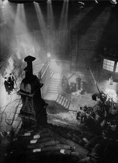 Rooftop view of the filming of Dr. Jekyll & Mr. Hyde (1931, dir. Rouben Mamoulian) art director Hans Dreier's studio recreation of the gas...