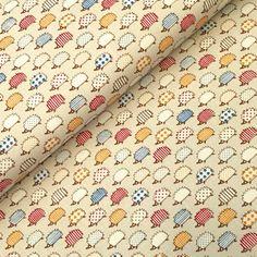 Tissu de coton façon lin - Collection Printemps, les hérissons - fond crème  clair 27806ee004b