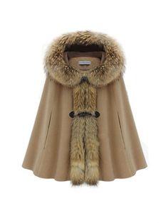 Hooded Fur Collar Warm Women Cape Winter Coat Camel