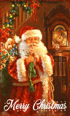 Santa Inside Home With Gifts christmas christmas pictures santa christmas gifs christmas images holiday gifs christmas photos santa gifs Christmas Scenes, Noel Christmas, Victorian Christmas, Vintage Christmas Cards, Christmas Pictures, Winter Christmas, Christmas Crafts, Father Christmas, Xmas