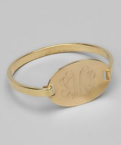 Take a look at this Gold Script Font Monogram Oval Bracelet by Jook and Nona on #zulily today!