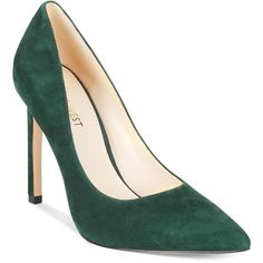 Nine West Tatiana Pumps ($79) ❤ liked on Polyvore featuring shoes, pumps, dark emerald suede, stilettos shoes, stiletto heel shoes, nine west, nine west shoes and party shoes