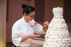 Our pastry chef  at The Ritz-Carlton, Buckhead, brings a wedding couples imagination to life by creating hand crafted cake design out of fondant.