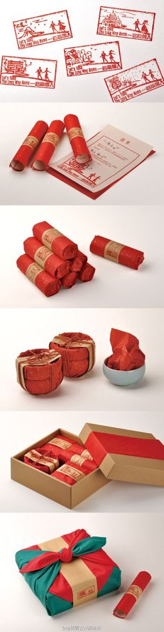 #packaging | 金锋青设计的微博_微博_結婚請柬 assorted products for (romantic) tea in pretty red #packaging PD