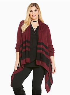 "The fabric: a snuggly burgundy knit that's a stretchy fit with a lightweight feel. The fit: a draped front that flatters, with a slightly longer hem. But wait, there's more; the black stripes lend a minimalist touch that catches the eye without overwhelming the look.<div><br></div><div><b>Model is 5'10"", size 1<br></b><div><ul><li style=""LIST-STYLE-POSITION: outside !important; LIST-STYLE-TYPE: disc !important"">Size 1 measures 47"" from shoulder</li><li style=""LIST-STYLE-POSITION:..."