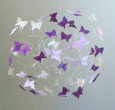 Baby Crib Mobile Purple Butterfly Nursery Art Hanging Butterfly Mobiles for Baby on Etsy, $48.00
