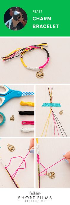 "Make these cute charm bracelets with your kids and have a family movie night with Feast and 11 other Walt Disney Animation Studios Shorts! Take one string and create a number ""4"" on top of the rest of the embroidery floss strands. Pull tight to group all the strands together. Keep repeating this number 4 knot until you start seeing a stair case pattern. Switch out the different strands to create blocks of different colors."