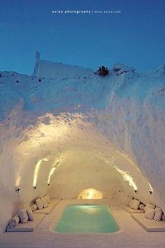 Hot tub cave. Santorini, Greece