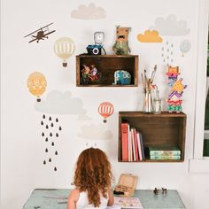 ...reusable wall decals removable fabric stickers...crates on the wall...
