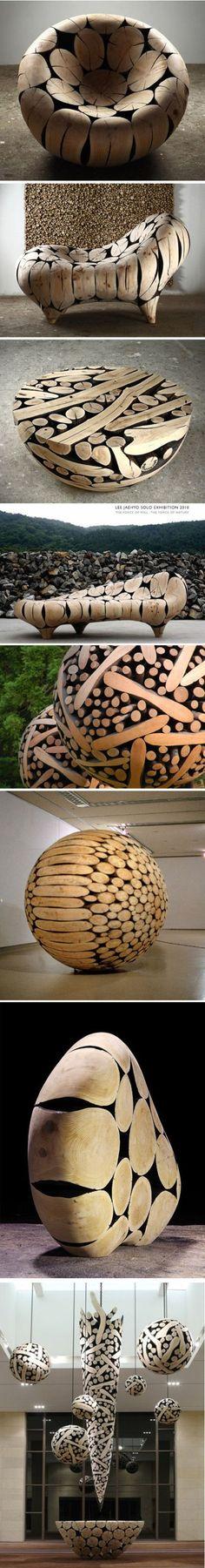 Diseño de mobiliario hecho de troncos de madera, pulidos para dar formar alguna figura.