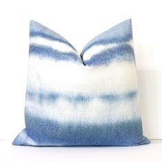Blue Dip Dye Decorative Designer Pillow Cover by WhitlockandCo