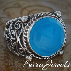 925 Sterling Silver Unique Handmade Men Ring with natural Blue Chalcedony #KaraJewels #Handmade