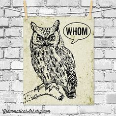 Owl Decor Typographic Print Grammar Whom Owl Vintage English Poster Teacher Gifts for Teachers Who Vs. Whom Geekery English Gifts
