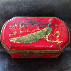 Vintage peacock tin