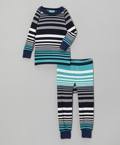 Look at this #zulilyfind! Teal Stripe Pajama Set - Infant & Toddler by Cat & Cow #zulilyfinds