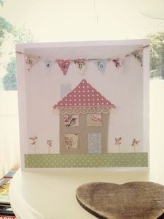 Handmade new home card shabby chic Handmade Birthday Cards, Greeting Cards Handmade, Fundraising Crafts, Housewarming Card, Easy Valentine Crafts, New Home Cards, Fabric Cards, Bday Cards, Christmas Cards To Make