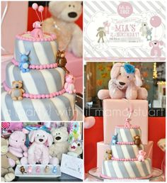 grey and pink party | Mia's Stuffed Animals – Marissa did an amazing job customizing the ...