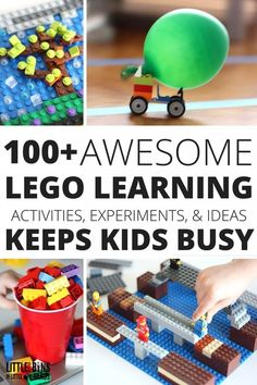 Here are our best kids LEGO activities and STEM projects. There is so much you can do with a LEGO. Looking for cool LEGO building ideas? Lego Duplo, Lego Toys, Stem Challenge, Lego Challenge, Challenge Cards, Legos, Lego Hacks, Lego Club, Lego Craft