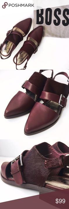 ➡️New Matisse Hutton Cut Out Maroon Loafer⬅️ Equally suited to daytime and evening looks, this striking, versatile flat—styled in a classic loafer silhouette, newly reinvented with bold cutouts and a slender slingback strap—features lush calf hair and burnished leather for mixed-media moxie. Polished square buckles add a hint of gleam. Edgy appeal in comfortable cushioned footbed.  Adjustable ankle strap with buckle closure. 1¼'' heel height. Leather lining Leather/cow hair upper. Matisse…