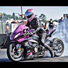 Dystany Spurlock drag racing her custom painted BMW S 1000 RR. #Special @ThrottleLife by Automotive Rhythms, via Flickr
