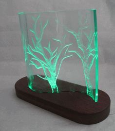 Carved Recycled Glass Sculpture