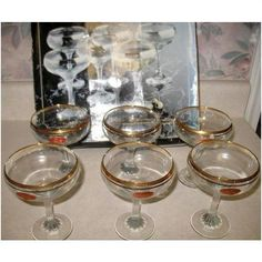 Set Of 6 Gorgeous 24 Karat Gold Trim Crystal Champagne Martini Glasses