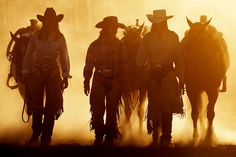 nothing like the dust and smell of horses and ladies! Cowgirls can ride many things.