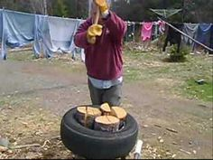 How to split wood in a tire! BRILLIANT! #preppers #survival #shtf