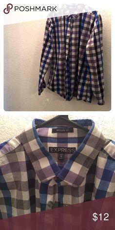 Men's EXPRESS Shirt Blue purple and grey checkered shirt. Greg buttons. 16-161/2 Shirt. Modern fit. Express Shirts Casual Button Down Shirts