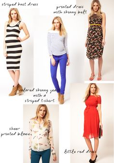 Links to cute maternity clothing sites -- and I love those cobalt pants.