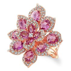 18KT Rose Gold Pink Sapphire Diamond Lotus Ring (28.475 BRL) ❤ liked on Polyvore featuring jewelry, rings, accessories, pink, flower jewelry, pink sapphire jewelry, flower ring, pink gold rings and rose gold jewelry