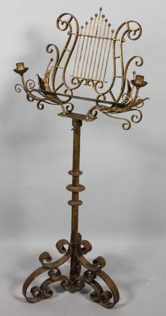 Early century gilt iron music stand with candelabra, adjustable height, 20 on Nov 2011