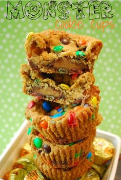 Monster Cookie Cups. These insane treats are stuffed with tons of candy and LOTS of deliciousness!
