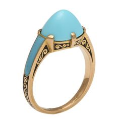 Cartier Cabochon Turquoise Ring Set In Gold With Black And Turquoise Enamel - Paris, France   c.1930  -  A La Vieille Russie