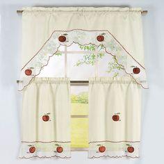 Apple Pattern 3 Piece Embroidered Kitchen Curtain Set (Apple), Multi (100%  Polyester, Nature)